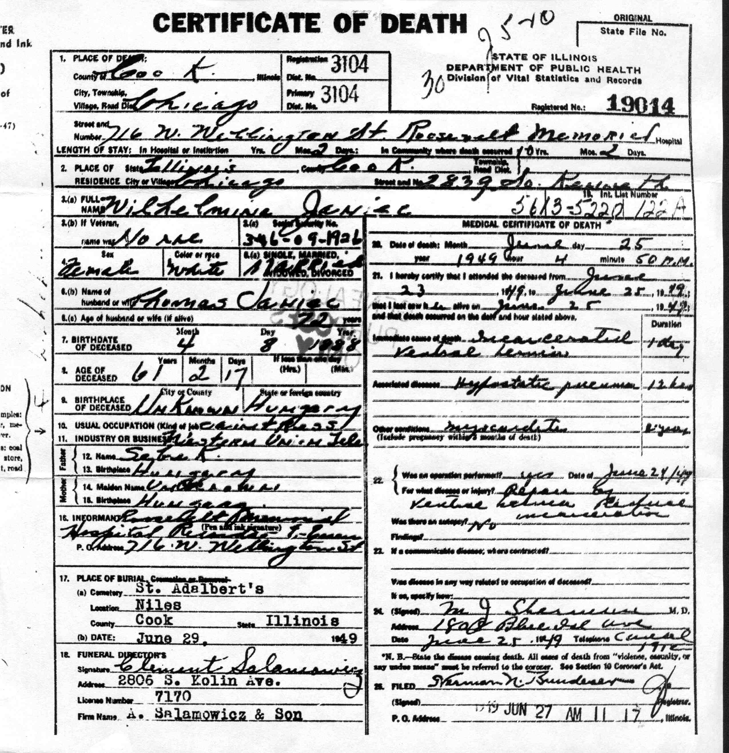 Descendants of walenty janiec and zofia slaczka cook county illinois united states 25 june 1949 death certificate chicago 1betcityfo Image collections