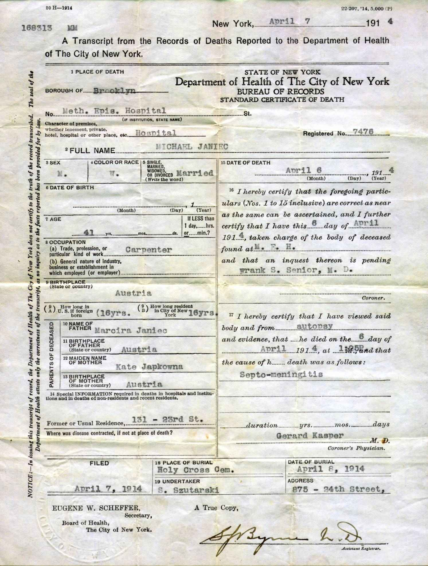 Descendants of walenty janiec and zofia slaczka november 1911 death certificate xflitez Choice Image