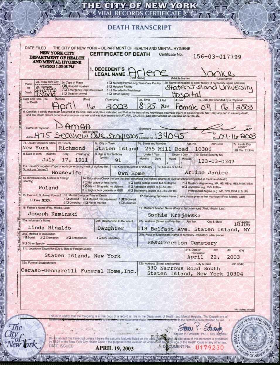 Descendants of walenty janiec and zofia slaczka 1997 death certificate aiddatafo Choice Image