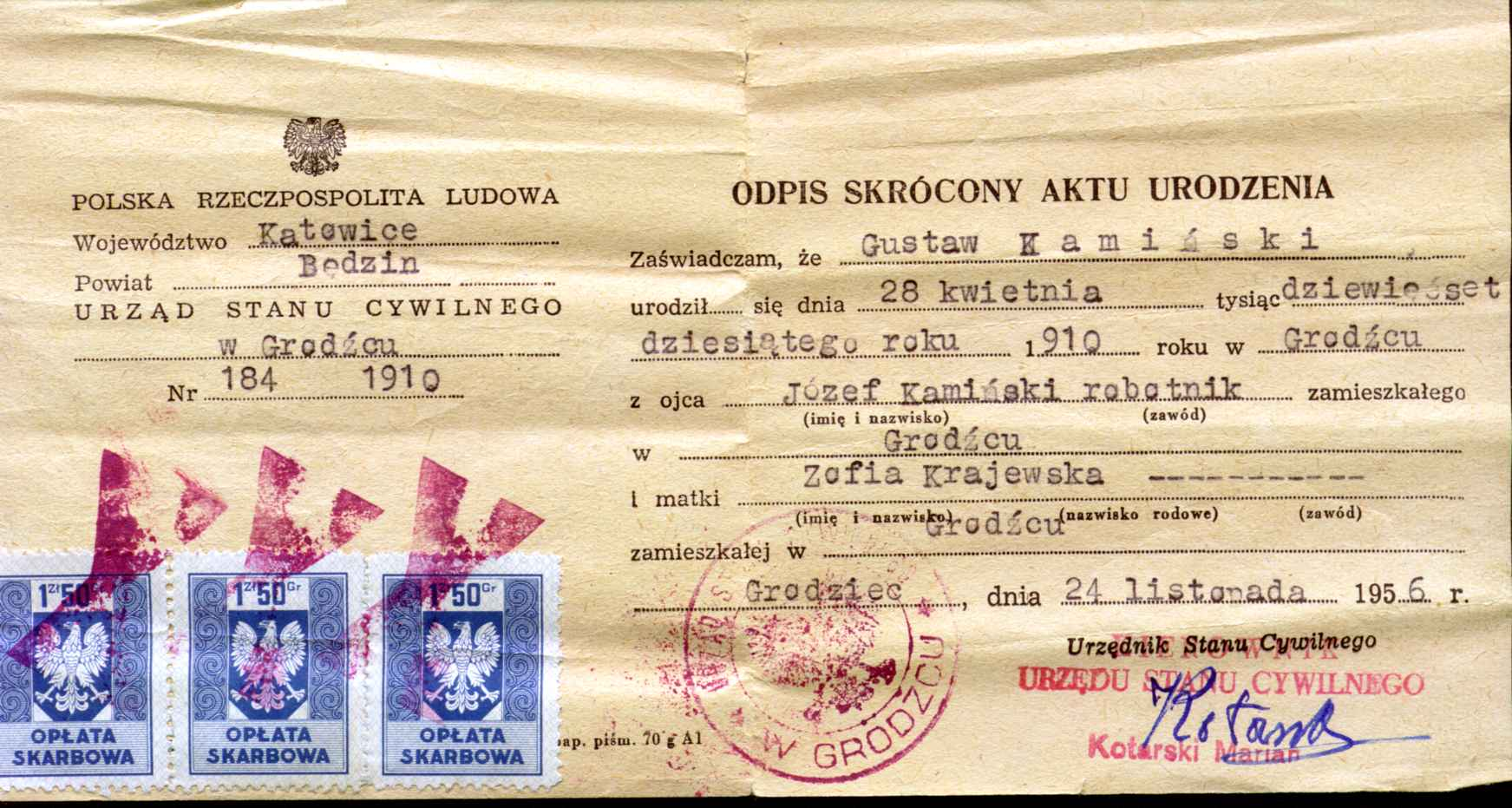 Descendants of kazimierz kaminski and magdalena wikla noted events in his life were birth baptismal certificate aiddatafo Image collections