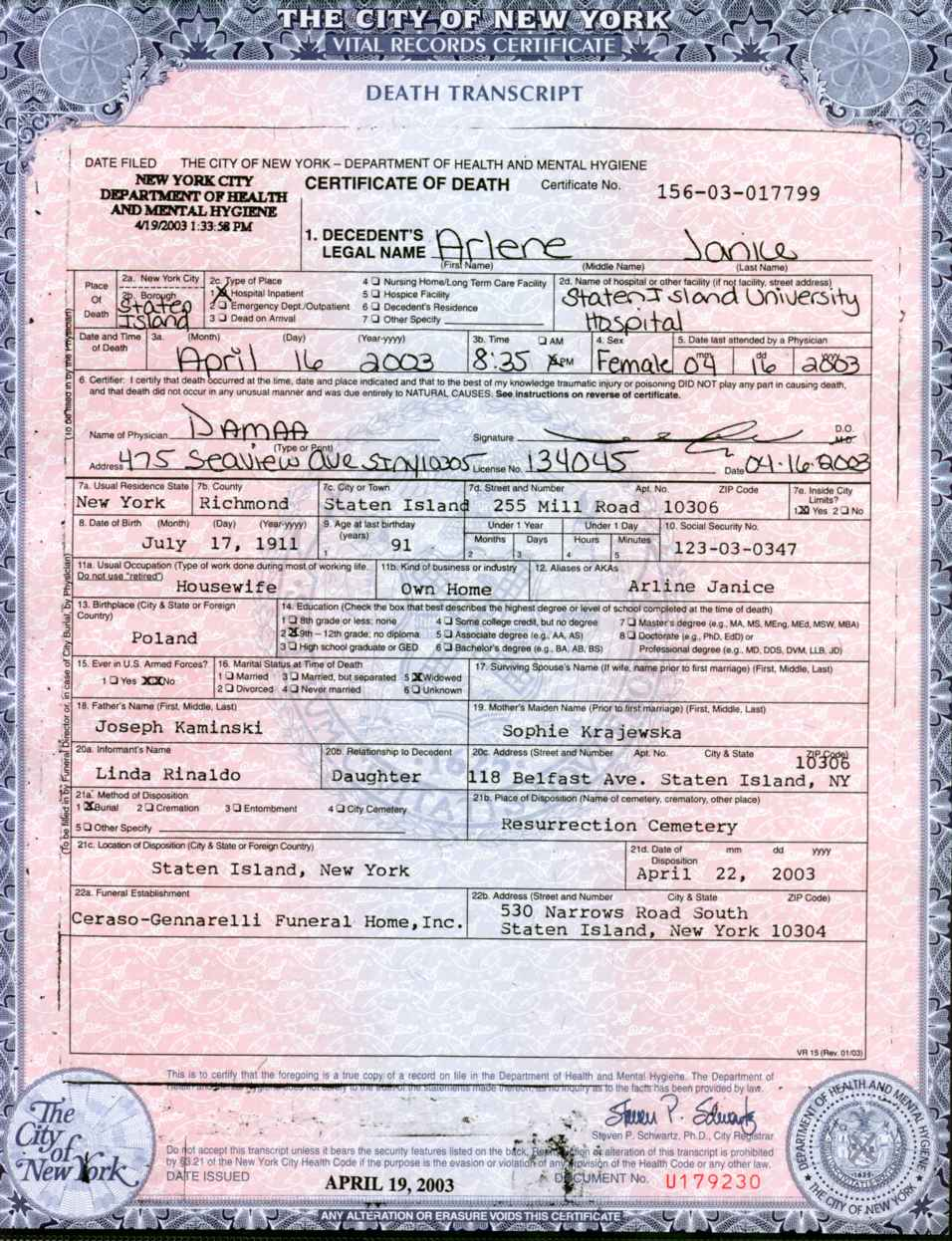 Descendants of dominik krajewski and katarzyna last name unknown 1997 death certificate 1betcityfo Images